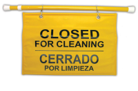 Warnschild -Closed for Cleaning- Rubbermaid, Höhe 300 mm, hängbar, mit Teleskopstab, mehrsprachig